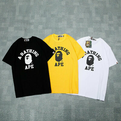 Bape A Bathing Ape T-shirt Tee Simple Monkey Head Casual Short Sleeve Crew Neck