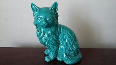 Cat Ornament by Anglia Pottery 1960's. AP201 - Green & in excellent condition
