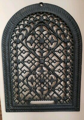Antique Ornate Black Cast Iron Arch Gothic Heat Grate Wall Register 10X14 Dome