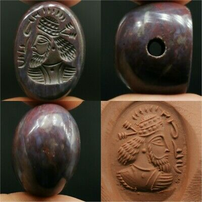 Old Chalcedony Agate Sassanian King Seal Face Stone BEAD with WRiting  # 23