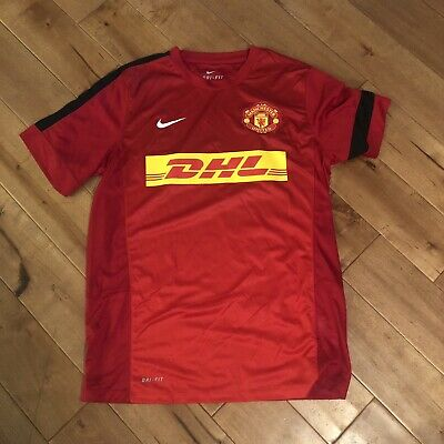 91fb93a8a MENS LIGHTLY WORN NIKE DRI FIT MANCHESTER UNITED RED DHL SOCCER JERSEY Large