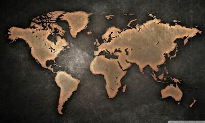 169467 World Map Large Detailed Physical Art Decor Wall Poster Print CA
