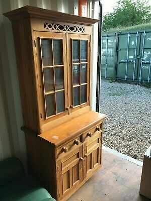 Solid Pine Narrow Kitchen Dresser Book Case Cupboard. Farmhouse Rustic Cabinet