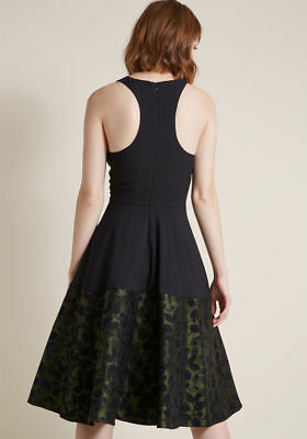 6dbc849f ModCloth Surprise Arrival 8 (L) Work/Party Hutch Black Dress w Green Floral