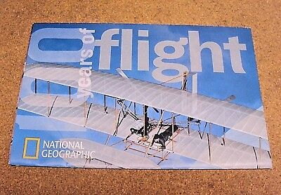 National Geographic December 2003 Map 100 Years of Flight History Aviation