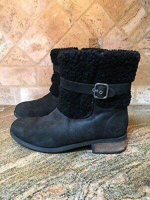 a4efe5ef506 UGG WOMEN'S BLAYRE II Fur Cuff Boot 6.5US LODGE Dark Brown Leather ...