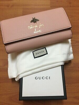 f230938d88a0 GUCCI Animalier Continental Bee Wallet In Light Pink Leather - New w gift  box!
