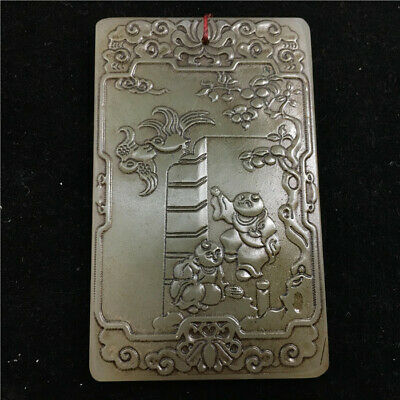 """3"""" Chinese antique Natural hetian old jade handcarved double Children Pendant"""