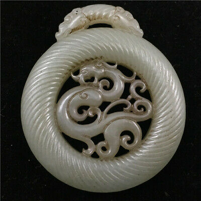 51mm China Natural hetian white old jade hollow out handcarved dragon Pendant