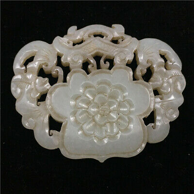 China antique 100% Natural hetian old jade handcarved bat flower lucky Pendant