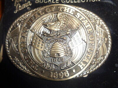 1970's Tony Lama 1st Edition State Seal Brass Belt Buckle Utah