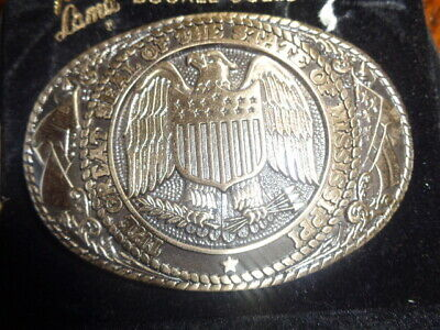 1970's Tony Lama 1st Edition State Seal Brass Belt Buckle Mississippi