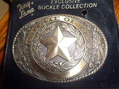 1970's Tony Lama 1st Edition State Seal Brass Belt Buckle Texas