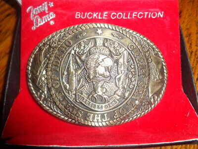 1970's Tony Lama 1st Edition State Seal Brass Belt Buckle Idaho
