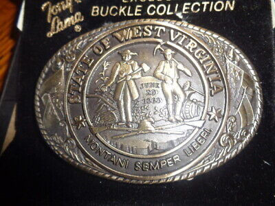 1970's Tony Lama 1st Edition State Seal Brass Belt Buckle West Virginia