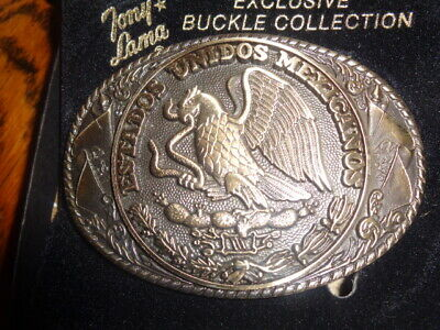 1970's Tony Lama 1st Edition State Seal Brass Belt Buckle Mexico