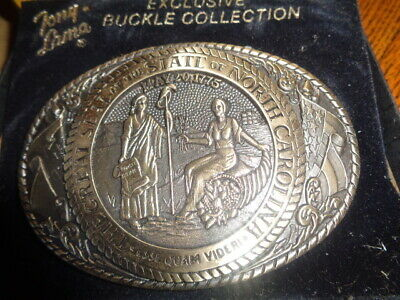 1970's Tony Lama 1st Edition State Seal Brass Belt Buckle North Carolina