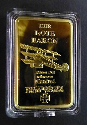 LEGENDARY AIR FIGHTER ACE 1 OZ 0.999 GOLD LAYERED BAR DER ROTE BARON WW1