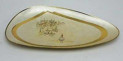 Vintage Mid Century Footed Metal Change Tray Jewelry Tray Western Germany UNIQUE