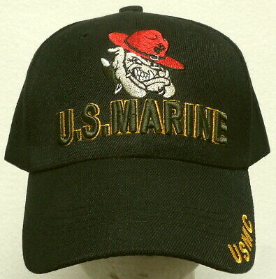 Embroidered Devil Dog Bulldog Mascot U.s. Marine Corps Usmc Commander Cap Hat