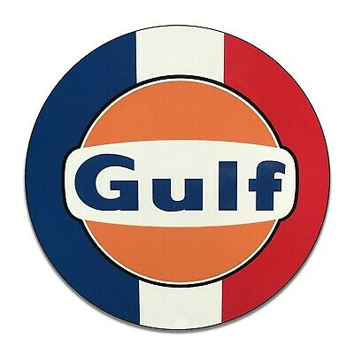 Gulf Gasoline Red White Blue Stripes Reproduction Aluminum Sign