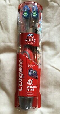 Colgate 360 Max White One Platinum 2 Head Battery Toothbrush RED BNIB Sealed UK