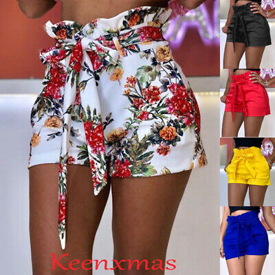 Plus Size Women High Waist Paperbag Shorts Floral Solid Summer Casual Hot Pants