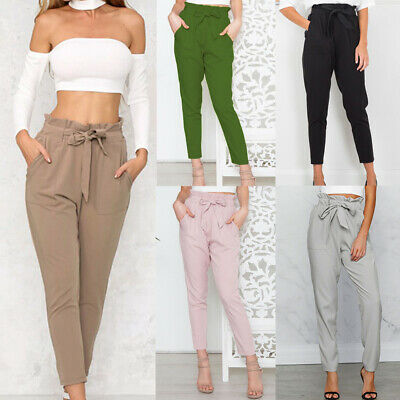 953c7641485807 US Women Elastic High Waist Paperbag Trousers OL Office Casual Harem Long  Pants