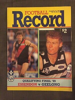 Essendon V Geelong Vfl 1989 Qualifying Final Record #2