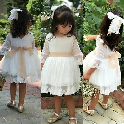 CA Toddler Baby Girl Lace Flower Dress Princess Party Pageant Dress Kids Clothes