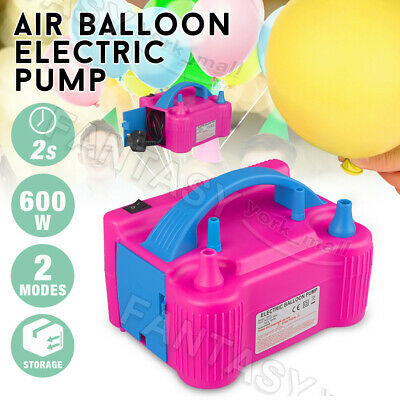 600W Electric Balloon Inflator Pump Two Nozzle High Power Air Blower Portable AU