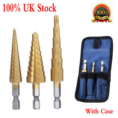 3pcs Small Titanium Step Drill HSS Bit Set Auto Hole Cutter Tool w/ Storage Bag