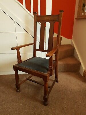 Antique Oak Arts And Crafts Chair, Carver / Arm.