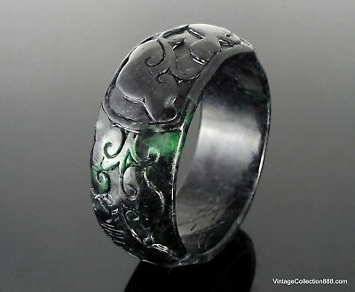 Antique Chinese Jade Bangle, Black Green spot, 19th Century Qing Dy