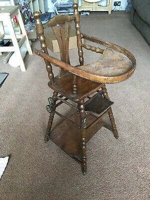 Victorian Metamorphic Wooden Doll's High Chair/table