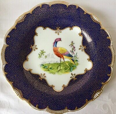 Set Of 4 Rare Antique Mintons Bird Plates, 1920, Gold Encrusted Cobalt Blue S24K