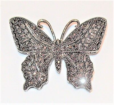 Vtg Butterfly Pin Art Deco Victorian Marcasite Bug Brooch Milgrain Silver Tone