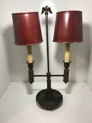 Vintage Bicentennial 1970's Double Arm Maroon Toleware Student Desk Table Lamp