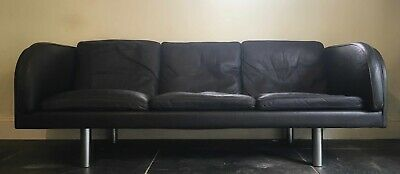Mid Century Vintage Danish Jorgen Gammelgaard black leather 3 seater sofa EJ20