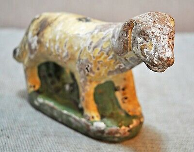 Original Old Antique Hand Crafted Painted Terracotta Dog Figurine