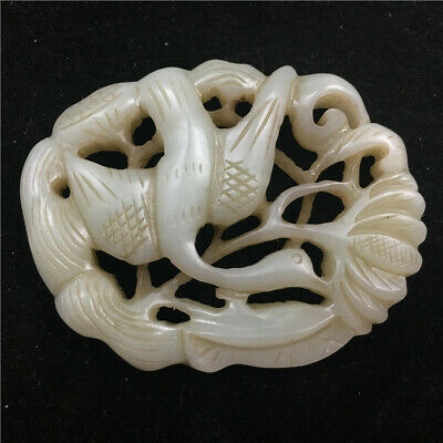 """2"""" Chinese antique Natural hetian old jade hollow out handcarved crane Pendant"""