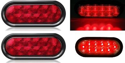 "2x 6"" Red 10 LED Sealed Oval Turn Signal Tail Stop Brake Light Flange Mount 12V"