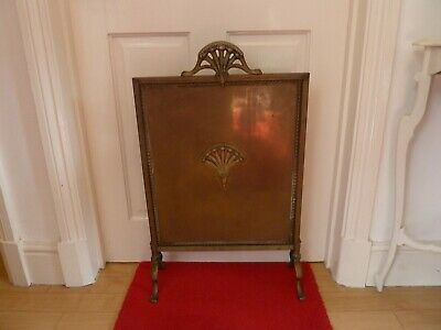 Antique Vintage Solid Brass Fire Screen Fire Spark Guard Fireplace Companion Old