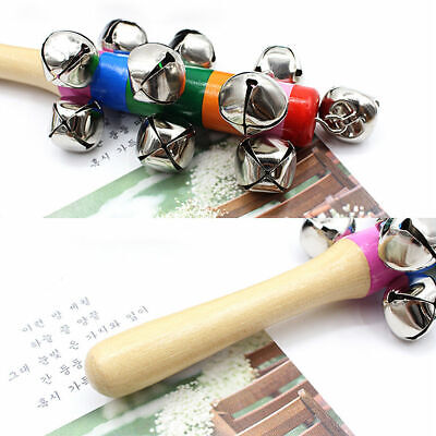 Rainbow Wooden Hand Jingle Ring Bell Rattle Musical Instrument Baby Kid Toy CB