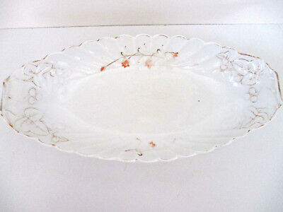 Antique Mid-to-Late 1800's Serving Platter White Floral With Gold Trim Unbranded