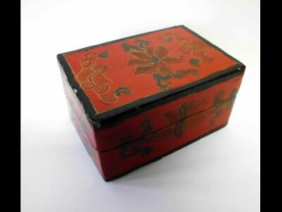 hübsche asiatische Lackmalerei-Dose-Holz-vintage-red asian lacquer painting box