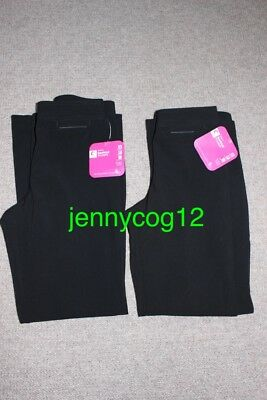 2x Trutex Girls Bootcut Black School Uniform Trousers Stretch Waist W23 L28