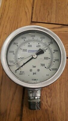 "safety and technical 4"" hydraulic pressure guage, 10000 psi -used, 1/2"" nptf"