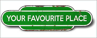 Train Station Aged Retro Vintage Sign Train Aluminium 30x16cm GREEN Any Name!