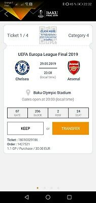 UEFA Europa League Final 2019 Tickets Finale Baku 4 Tickets Price for 4 places